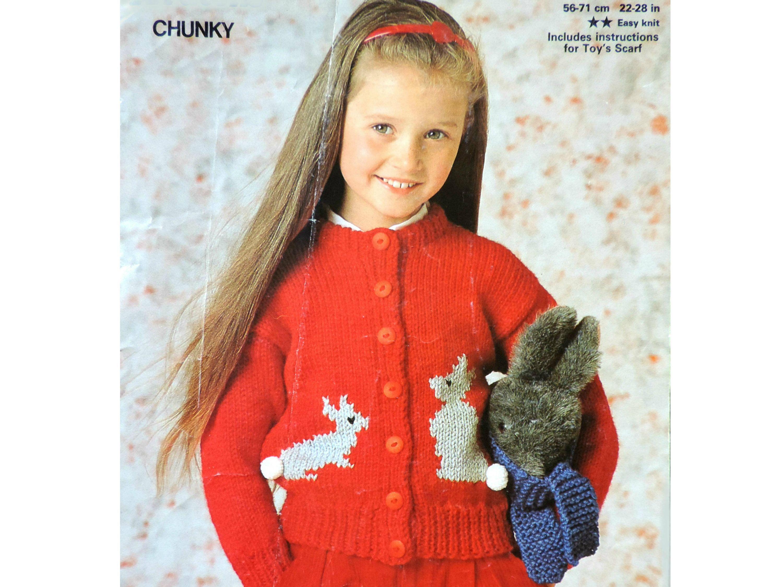 Childs Bunny Cardigan, Vintage Knitting Pattern PDF ...