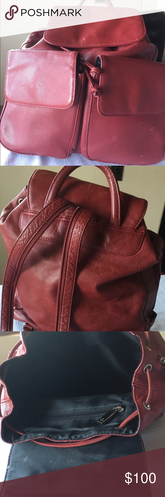 Franklin Covey Red Leather Backpack Bag Red/ Burgandy Leather Backpack bag. Very roomy, magnetic closure, side zipper. Some mine scuffs on outside pocket that can be refurbished. ( see pics) Franklin Covey Bags Backpacks