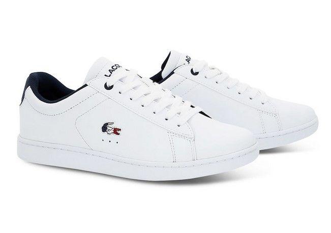 24e2ea020cc29 Sneakers Carnaby Evo Lacoste en cuir blanc tricolore - Baskets Femme ...