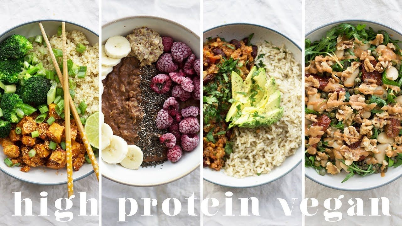 High Protein Vegan Meals 5 Recipes 173g Protein Youtube Vegan Protein Recipes High Protein Vegan Recipes Healthy Protein Meals