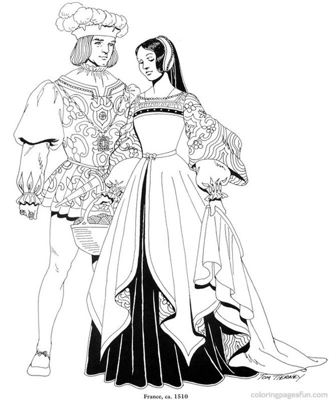 Renaissance Costumes and Clothing Coloring Pages 19 - Free ...