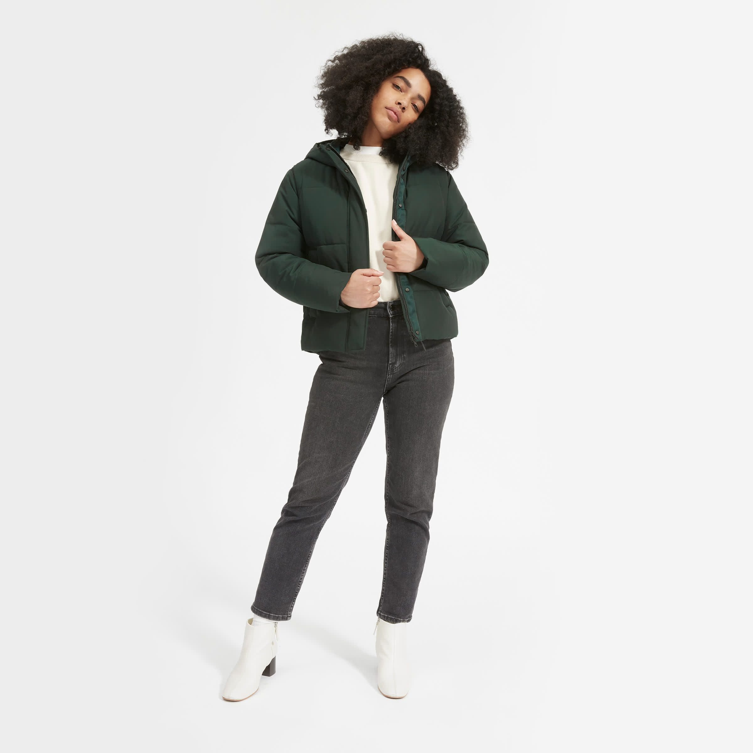 A More Sustainable Take On A Cool Classic Our Puffer Jacket Features A Cropped Boxy Shape Insulated Hood An Everlane Online Womens Clothing Fashion Outfits [ 2400 x 2400 Pixel ]