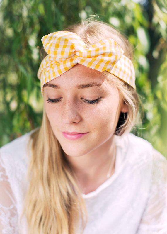 44c877869b4b Gingham Wire Headband, Dolly Bow, 1950s Pin Up Rockabilly Hair Wrap, Twist Hair  Scarf, Bandana, Headband, Hair Tie in Yellow and White