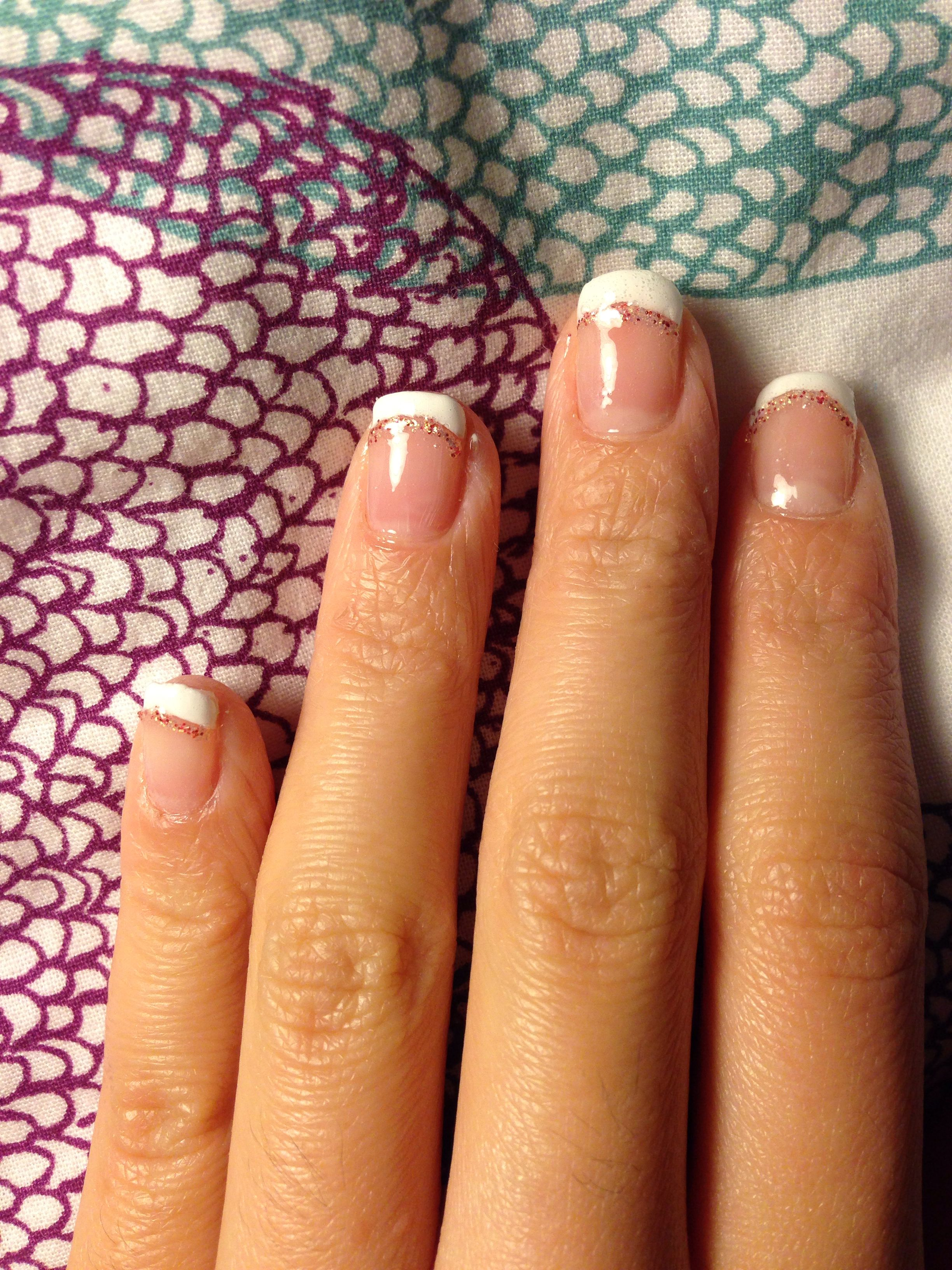 French Nails With Glitter Lines Nail Art For Short Nails Self