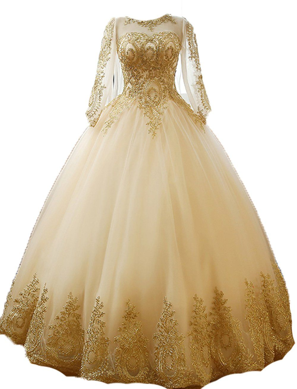 af35c5c3eee BessDress Gold Lace Appplique Quinceanera Dresses Long Sleeves Prom Ball  Gown BD389   For more information