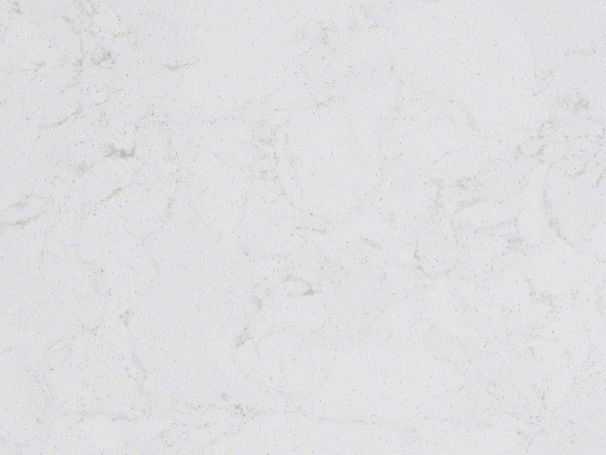 Modern kitchen with snow white quartz counter long peninsula and white - Marbella White Quartz Slab