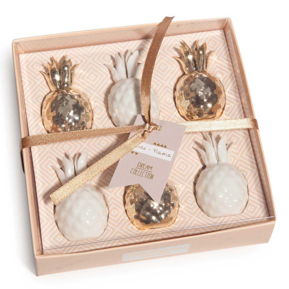 Coffret 6 porte noms ananas en porcelaine maisons du monde pineapple ananas pinterest - Ananas maison du monde ...