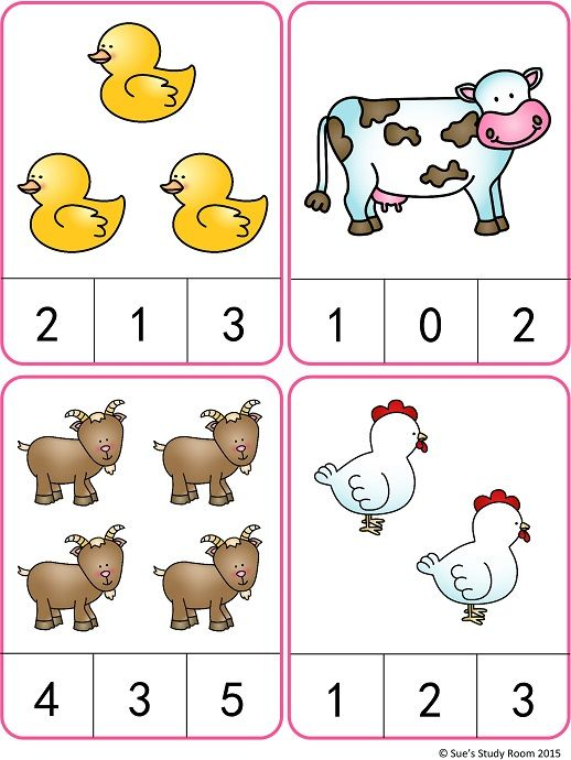 Farm Animals Count and Clip Cards (Numbers 1-20) | Pré maternelle ...
