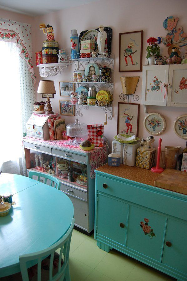 Kitschy Kitchen super cluttered but love all of the knick