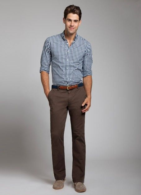 Men S White And Navy Gingham Long Sleeve Shirt Dark Brown Chinos Brown Suede Desert Boots Navy Canvas Belt Pants Outfit Men Brown Pants Outfit Brown Pants Men