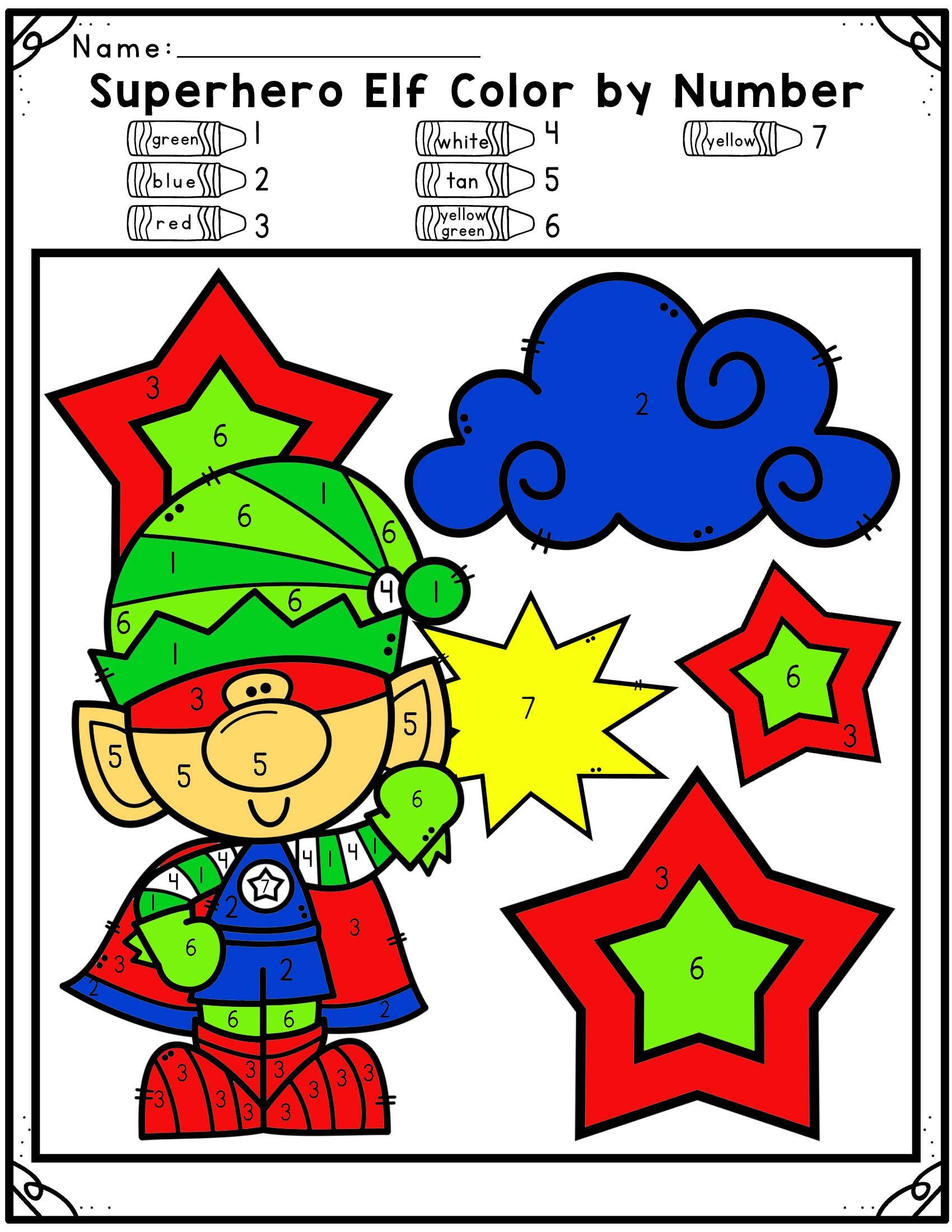 Superhero Elf Color By Number