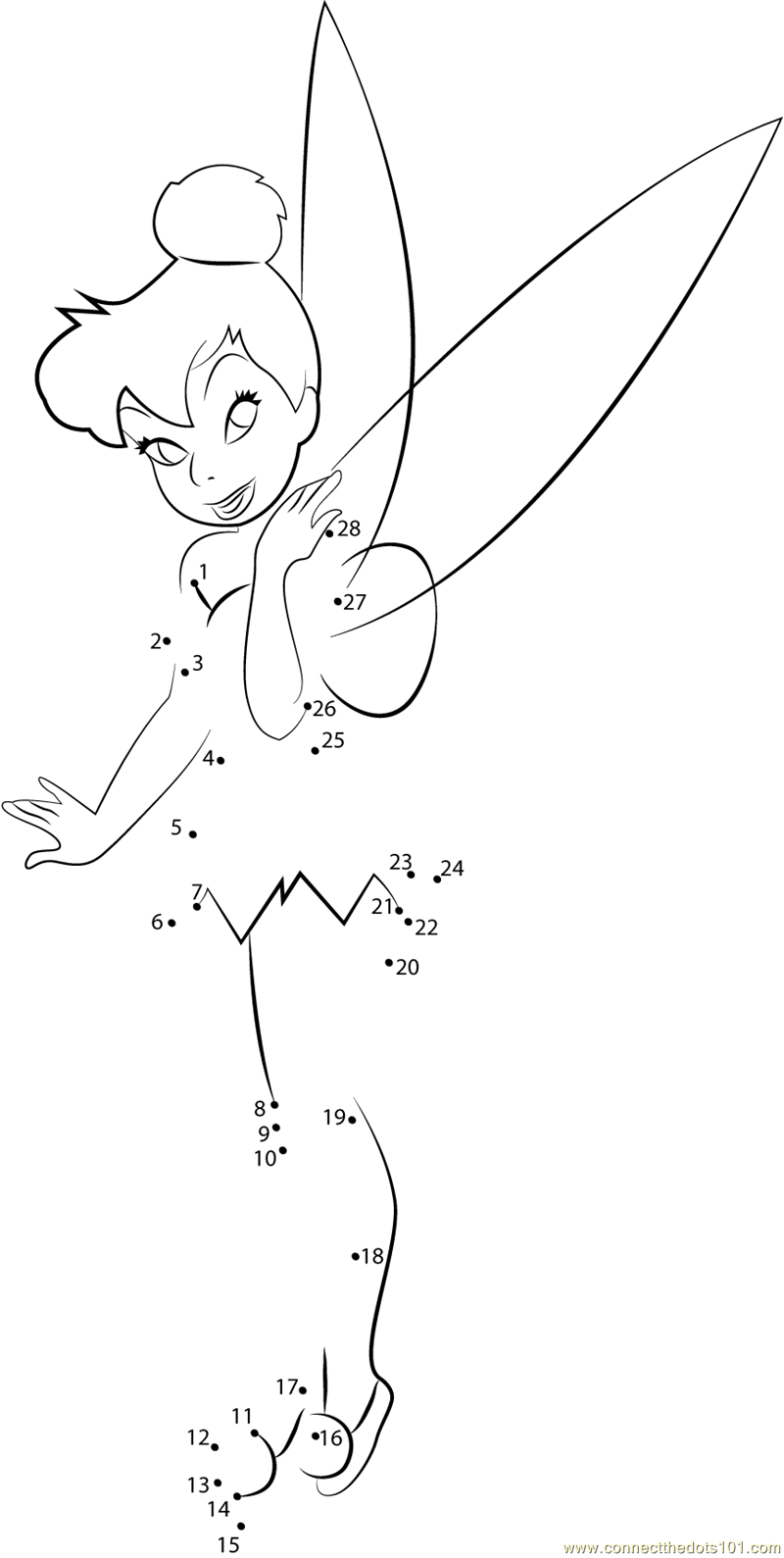 Workbooks superhero worksheets for preschool : Cute Tinkerbell dot to dot printable worksheet - Connect The Dots ...