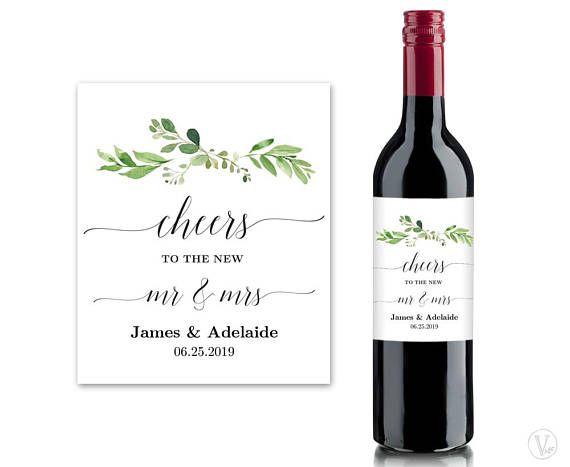 Printable Wedding Wine Bottle Label Templates Greenery Wine Wine Bottle Labels Wedding Wine Bottle Label Template Bottle Label Template