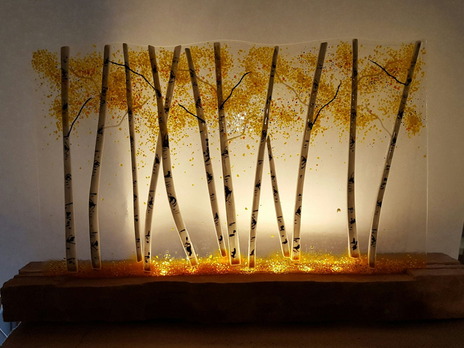 Glowing Aspen Fused Glass Panel - Clear Transparent/Stone Base ...
