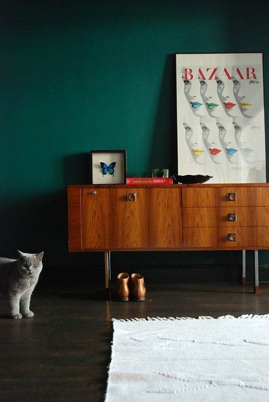 Patricia S Lovely Vintage Antwerp Apartment Dark Green Walls House Styling Interior Painting Wood Paneling