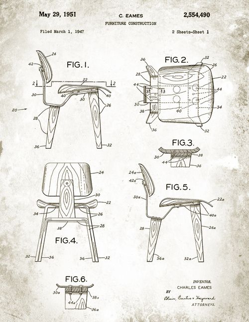 Patent illustration charles eames eames chairs and illustrations patent illustration from the charles eames dcw chair next step 3d printed version malvernweather Images