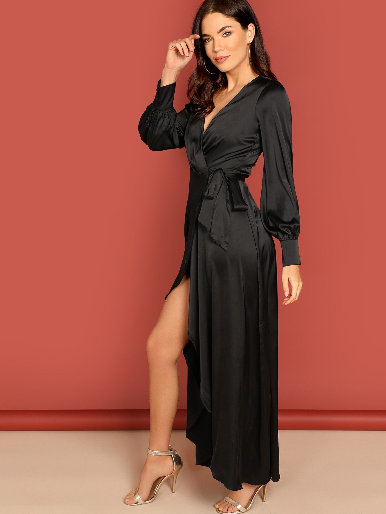 db120c27fd Party A Line Wrap and Knot and Split Plain Fit and Flare Slit Deep V Neck  Long Sleeve High Waist Black Maxi Length Knot Side Surplice Wrap Split Dress