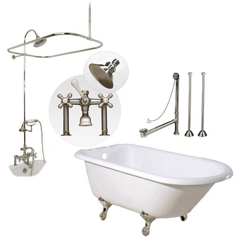 Heritage 60 Inch Cast Iron Clawfoot Tub Shower Package With