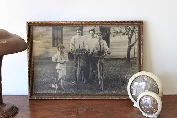 antique BOYS on BICYCLES framed photograph by ScottieinaCanoe, $25.00