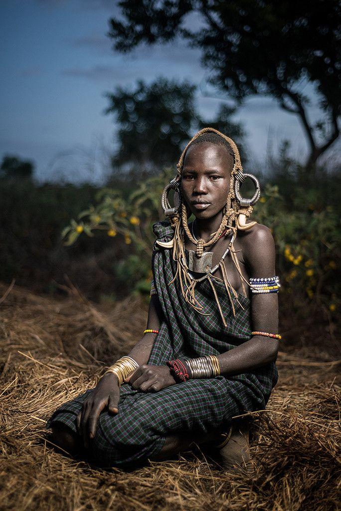 Mursi girl • Mursi village in Mago National Park, Lower O