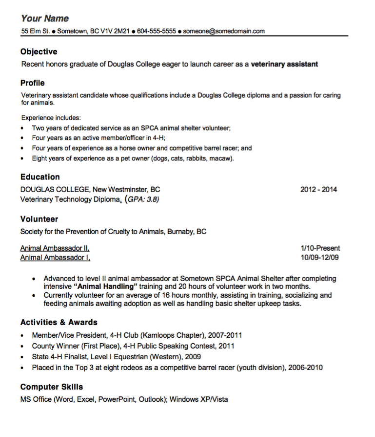 veterinary technician resume occupational exles
