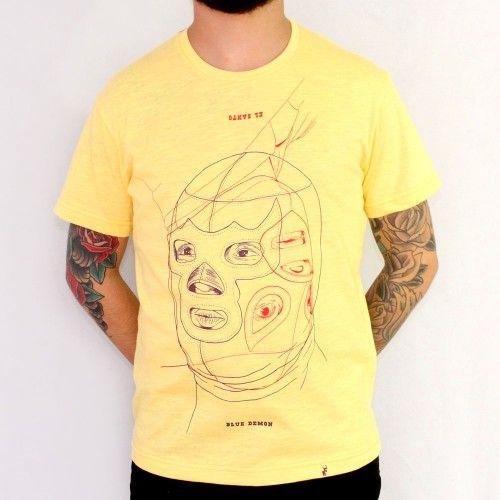 El Santo VS Blue Demon - Camiseta Masculina Amarelo