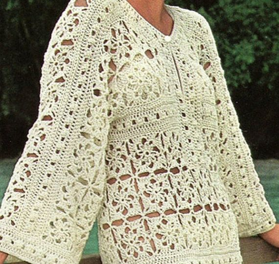 Crochet DRESS Pattern Vintage 70s Crochet Caftan Dress Pattern ...