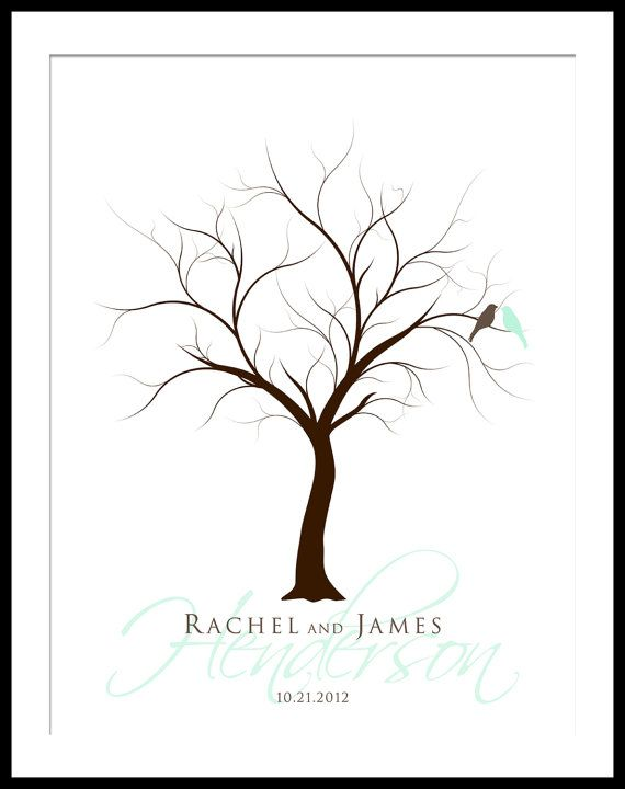 personalized finger print wedding tree guest by yourkeepsakeco