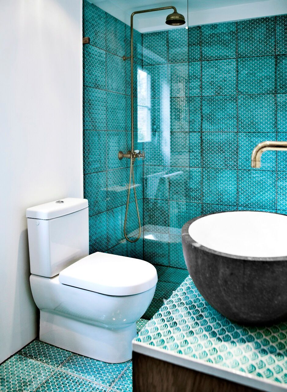 Dark Copper Green Komon Tiles And Lava Stone Sink From Danish Company Made A Mano Aqua Bathroom Blue Bathroom Tile Bathroom Design