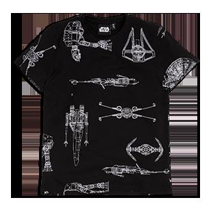 En myk, kortermet T-skjorte med tøft Star Wars-motiv.  Korte ermer  Rund hals med kantbånd  Trykk på forstykket eller på for- og bakstykket  Myk bomull    Maskinvask 40° Materiale: 100% Cotton Artikkelnummer: 7463888
