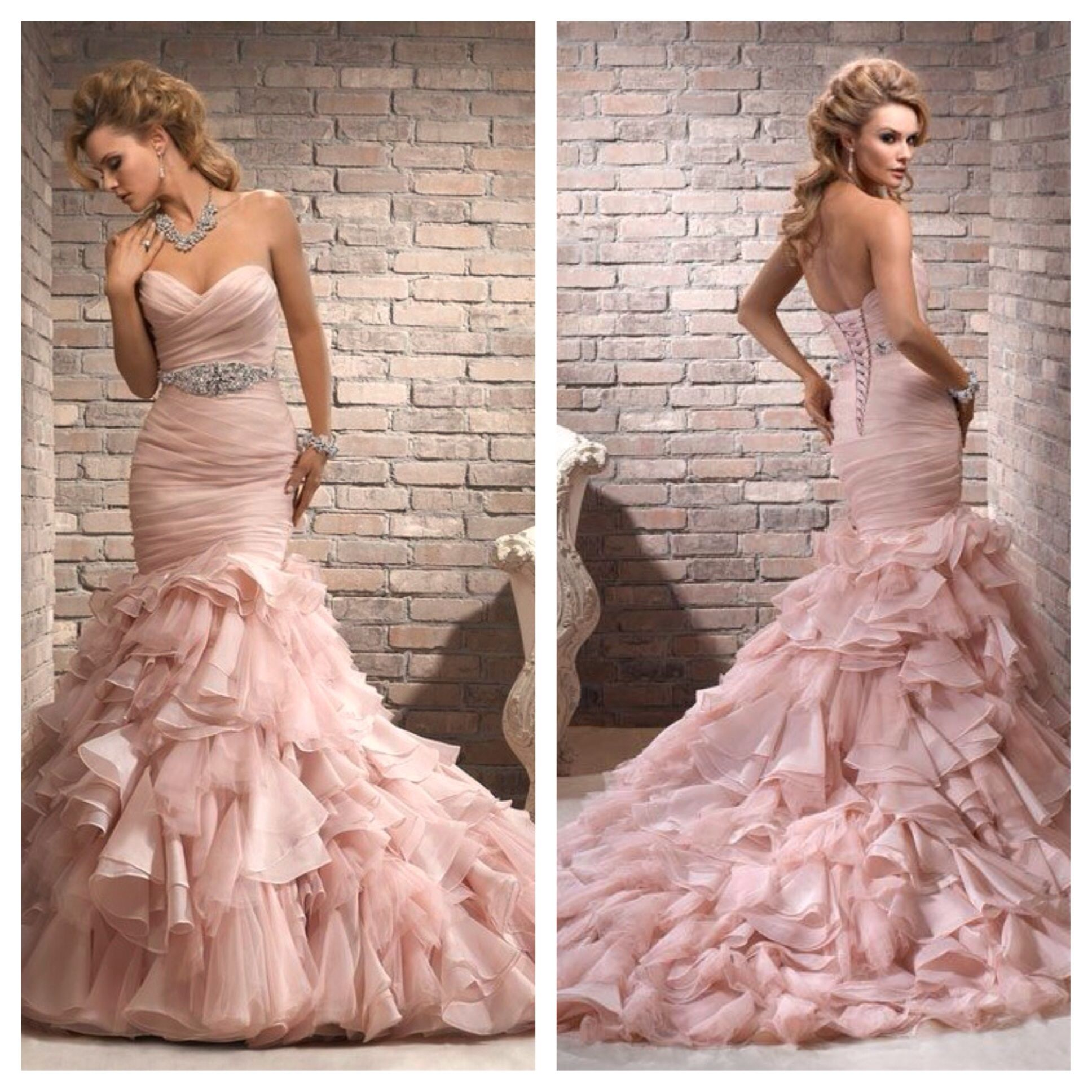 Maggie Sottero Blush Pink Mermaid Dress Front & Back view | Wedding ...