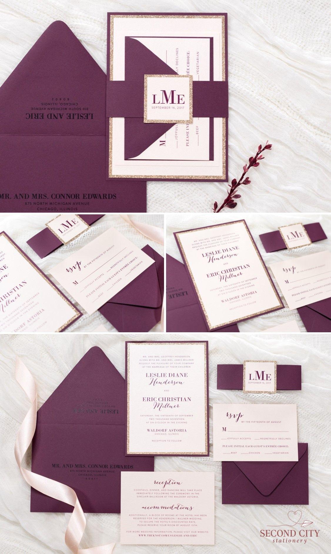 blush shimmer rose gold glitter and burgundy wine wedding invitation the dearest - Burgundy Wedding Invitations