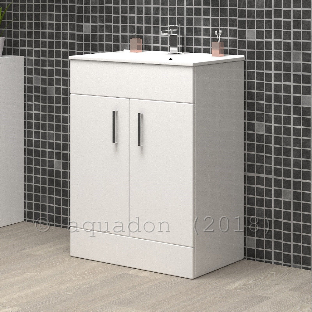 Details About Bathroom Vanity Unit Basin 600mm Turin Gloss White
