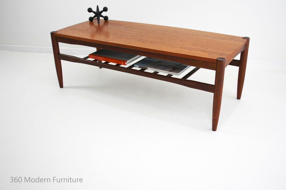 Mid Century Coffee Table Teak Magazine Rack Retro Vintage ...