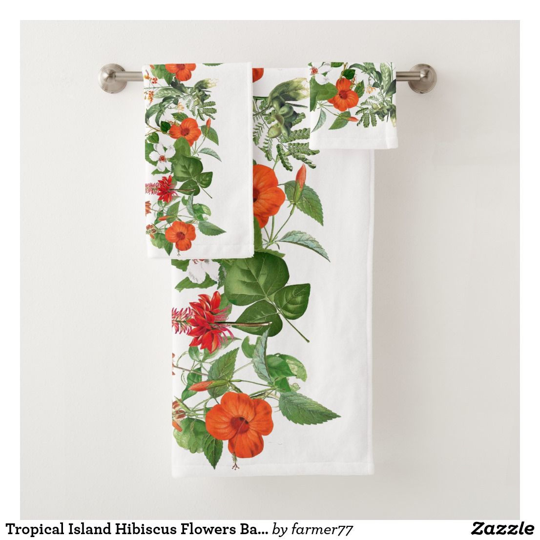 Tropical Island Hibiscus Flowers Bath Towel Set Flower Bath