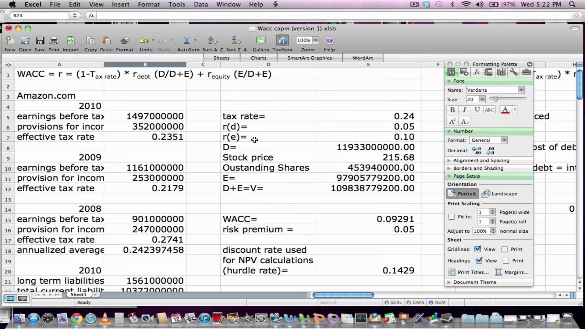 Calculating Weighted Average Cost Of Capital Using Excel Cost Of Capital Excel Weighted Average