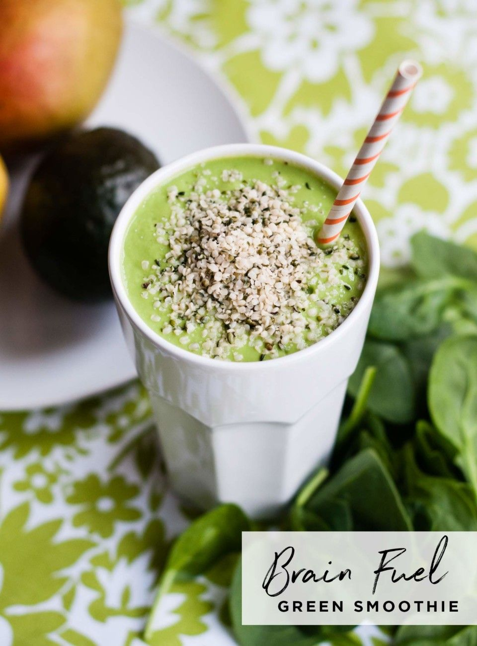Brain Fuel Green Smoothie Recipe Avocado Smoothie Smoothies Healthy Green Smoothies