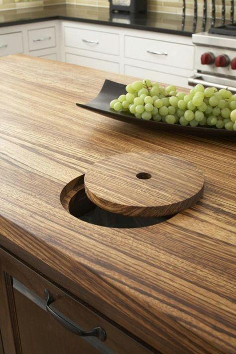 küche einrichten arbeitsplatte küche holztextur funktoinales ...