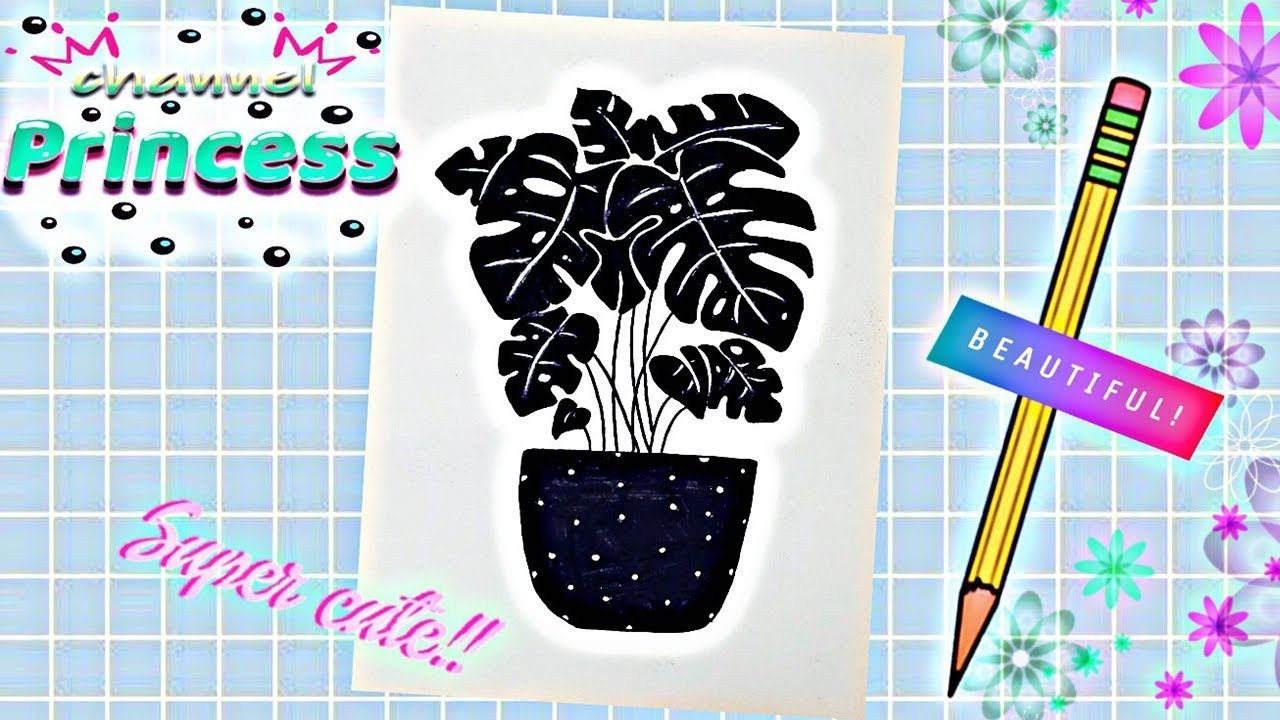 How To Draw A Flower Pot Step By Step مراحل رسم أوراق الشجر كيوت وسط ا Notebook