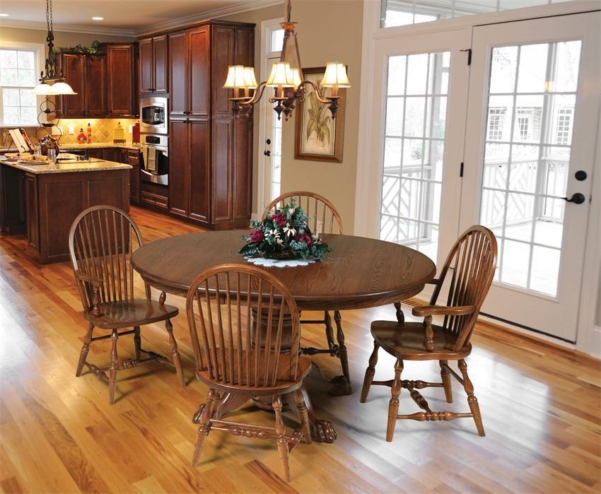 Amish Hampton Single Pedestal Dining Room Table  Dining Room Pleasing Oak Dining Room Design Inspiration