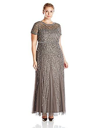 e117eb63849b Adrianna Papell Women's Plus Size Cap Sleeve Fully Beaded Gown with  Illusion Neckline at Amazon Women's Clothing store: