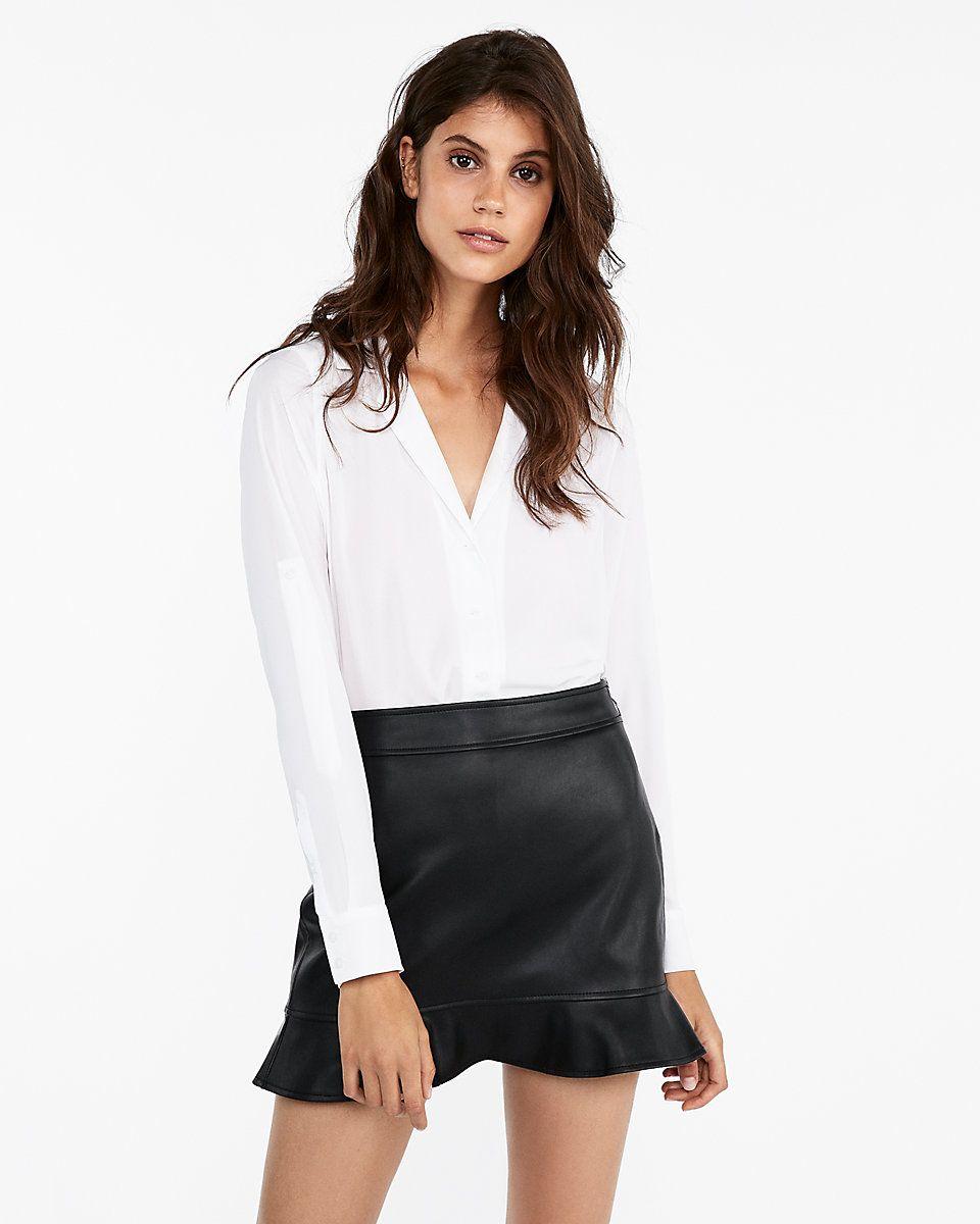 9e574b4be minus The) Leather Ruffle Hem Mini Skirt | Express | Wishlist | Mini ...