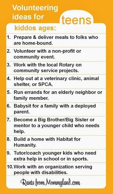 Volunteering Ideas For Teens  Rants From Mommyland