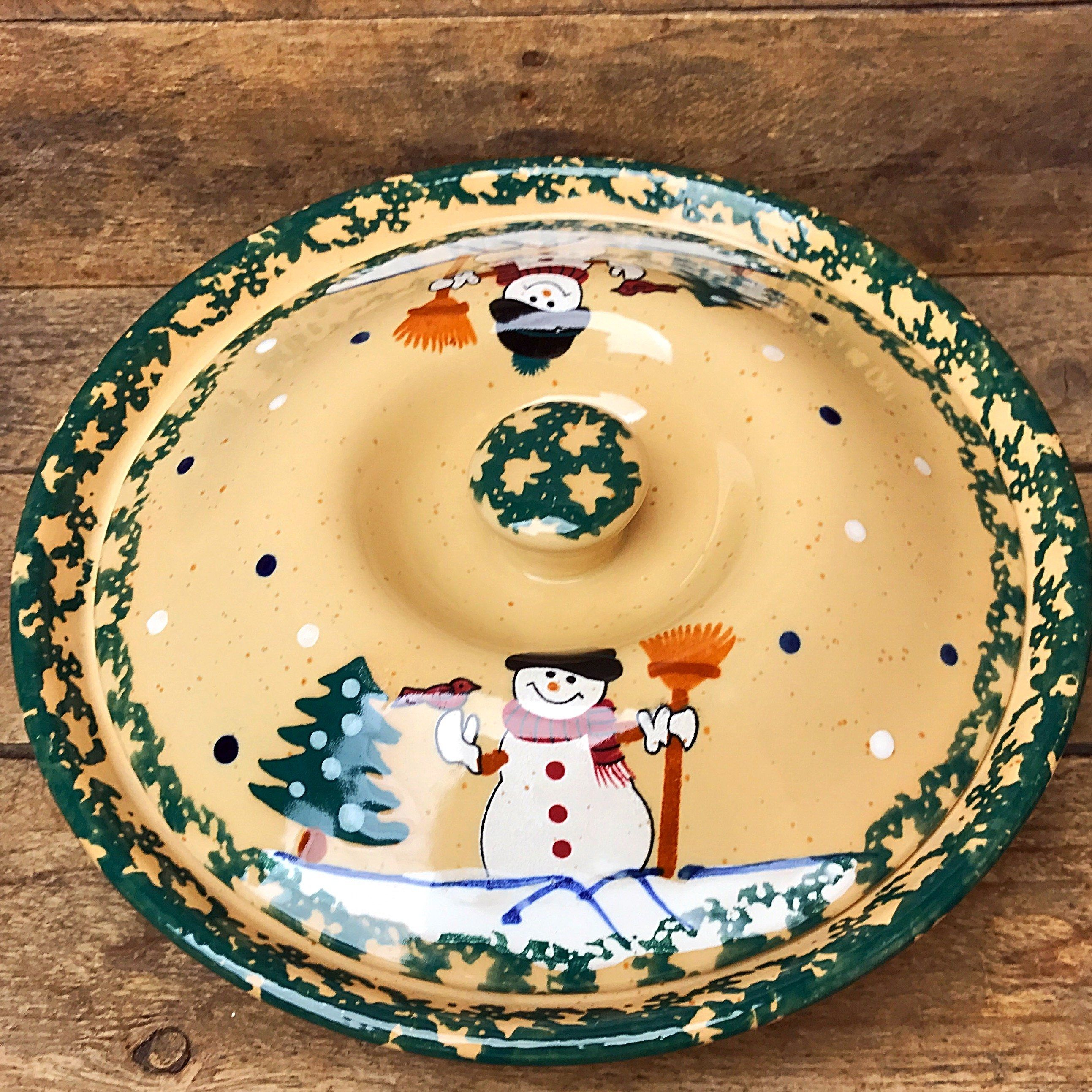 Spongeware Snowman Lidded Stoneware Pie Plate  sc 1 st  Pinterest & Spongeware Snowman Lidded Stoneware Pie Plate | Pie plate Stoneware ...