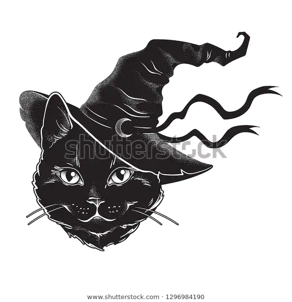Black Cat Pointy Witch Hat Line Stock Vector Royalty Free 1296984190 Black Cat Tattoos Black Cat Painting Cats Art Drawing