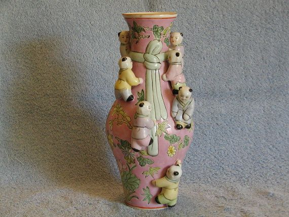 Asian Vase with Children by SandECollectibles on Etsy