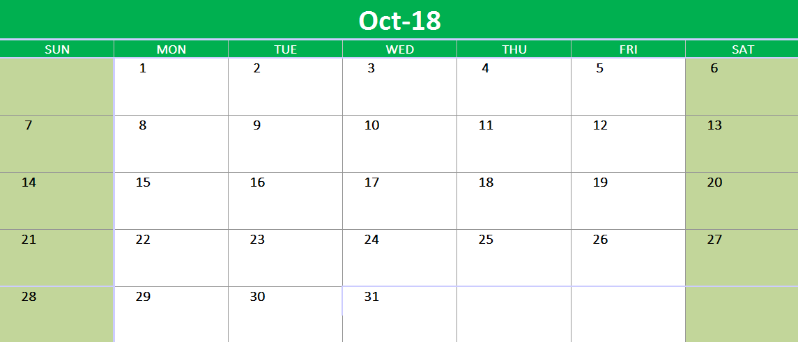 October 2018 Google Sheet Template Template Printable Google Sheets Templates