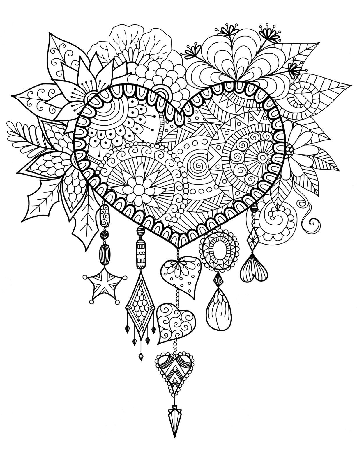 Dreamcatcher To Print And Color HeartFrom The Gallery Zen Anti Stress