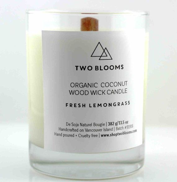 Fresh Lemongrass Organic Coconut Wax Wood Wick Candles 13