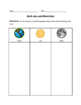 earth sun and moon facts worksheet earth moon and moon facts. Black Bedroom Furniture Sets. Home Design Ideas